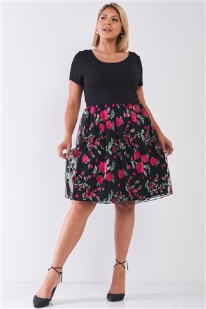 Plus Size Black Tulle Floral Print Mini Dress