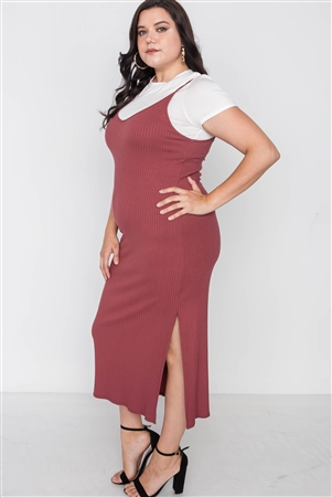 Plus Size Ribbed Rust Two Piece Dress