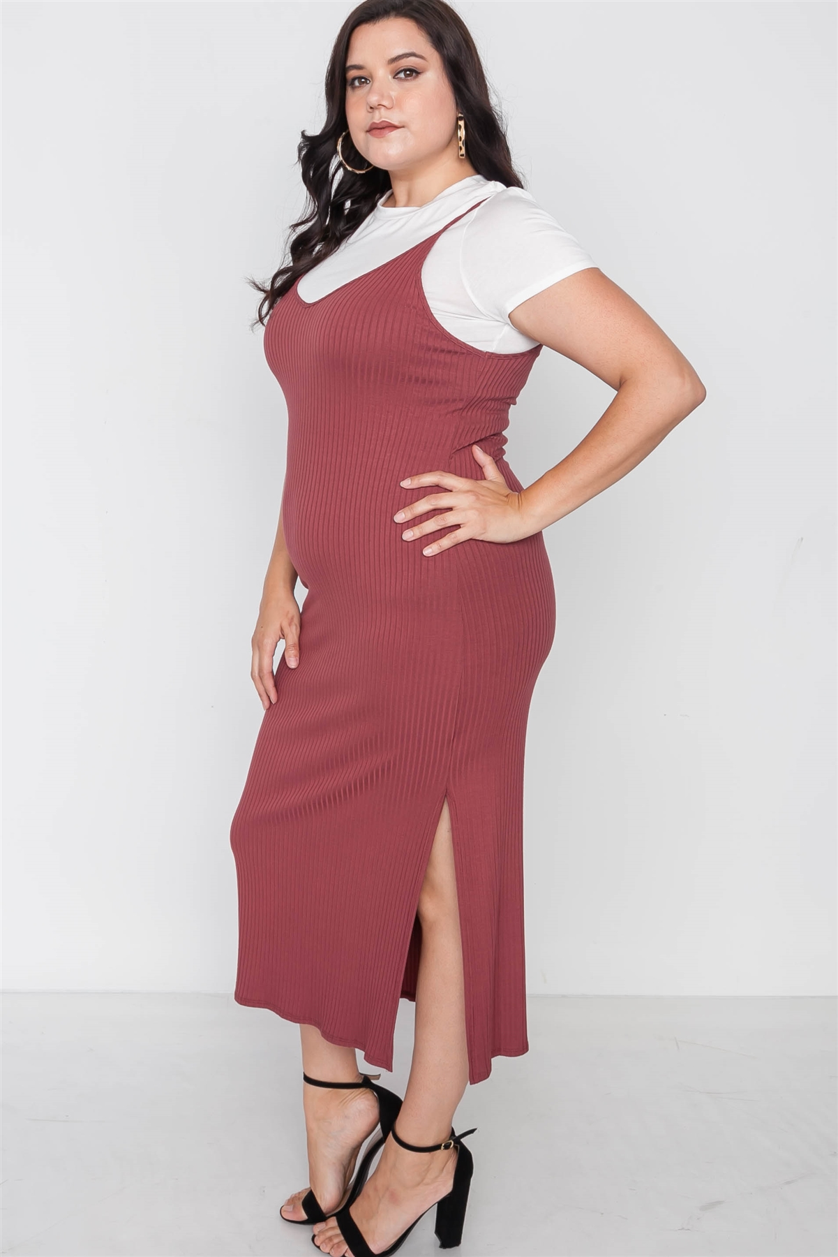 Plus Size Ribbed Rust Two Piece Dress /2-2-2