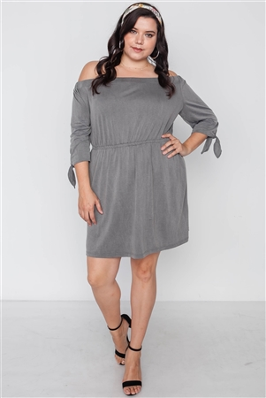 Plus Size Grey Off The Shoulder Basic Mini Dress