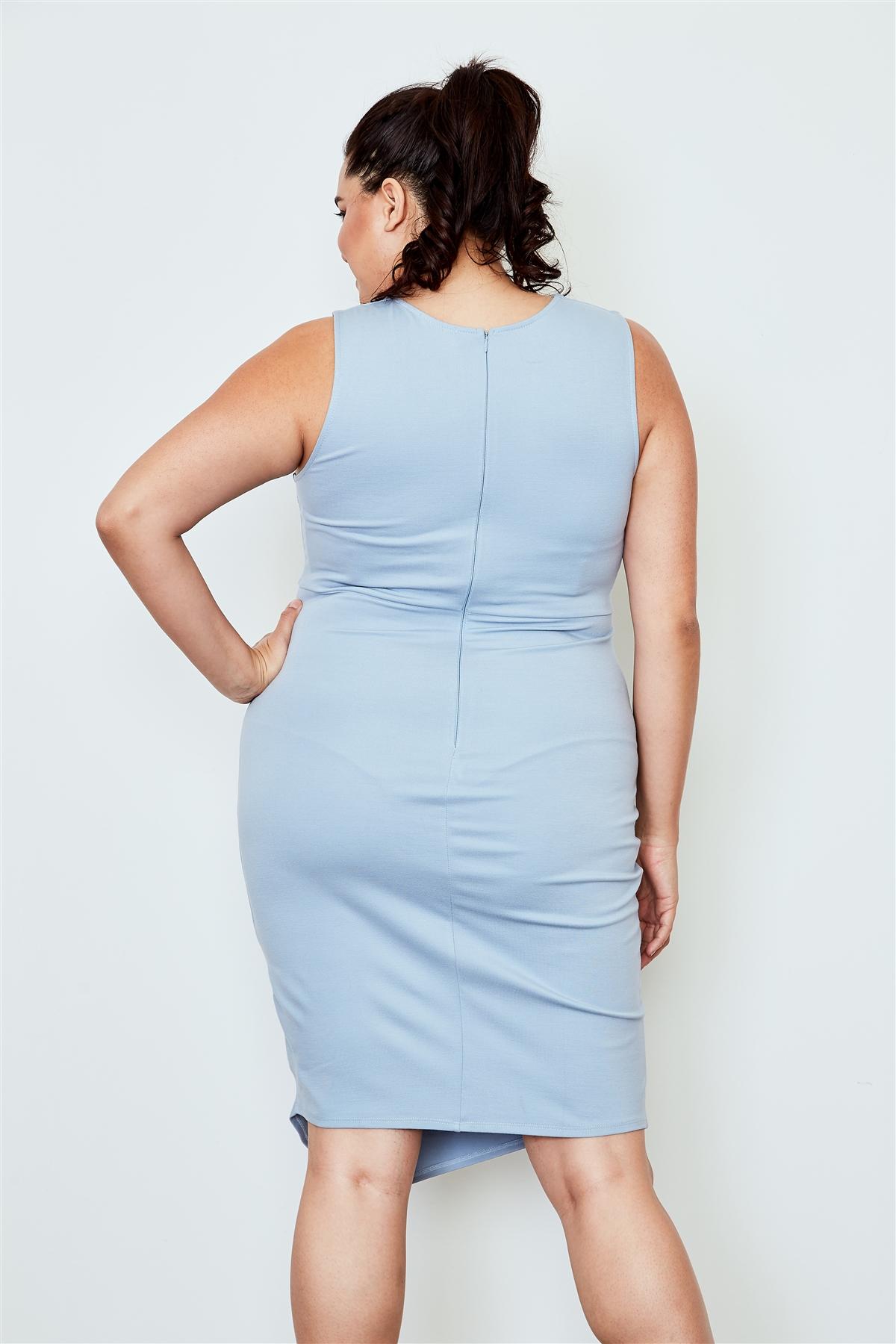 Plus Size Light Blue Lace Up Asymmetrical Front Dress /2-2-2