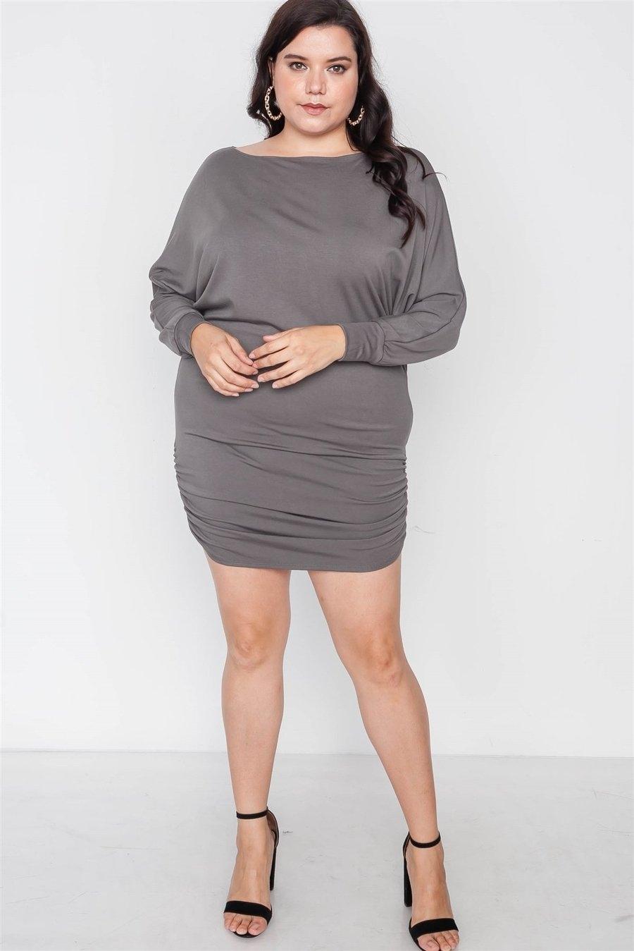Plus Size Grey Batwing Basic Mini Dress