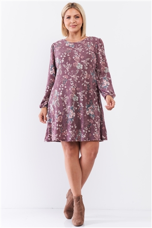 Junior Plus Washed Burgundy Floral Print Long Puff Sleeve Relaxed Mini Dress /3-2-1