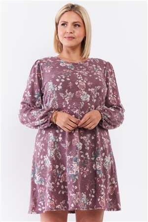 Junior Plus Washed Burgundy Floral Print Long Puff Sleeve Relaxed Mini Dress /2-2-1