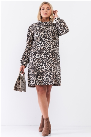 Junior Plus Size Leopard Print Ribbed Cowl Neck Balloon Sleeve Mini Dress /2-2-1