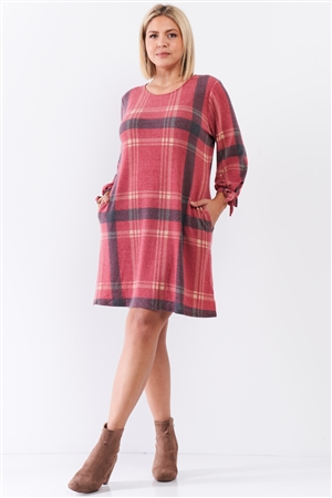 Junior Plus Retro Red Plaid Bow Detail Midi Sleeve Relaxed Soft Mini Dress /2-2-1