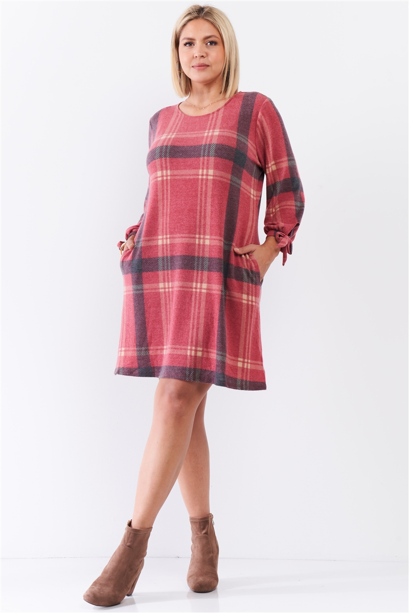 Junior Plus Retro Red Plaid Bow Detail Midi Sleeve Relaxed Soft Mini Dress /3-2-1