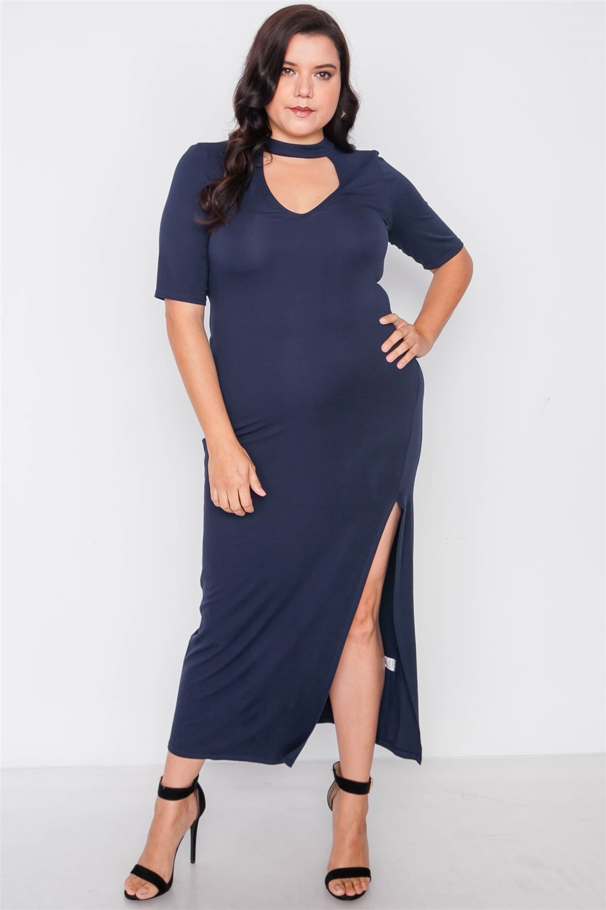 Plus Size Navy Side Slit Mock Neck Maxi Dress /2-2-2