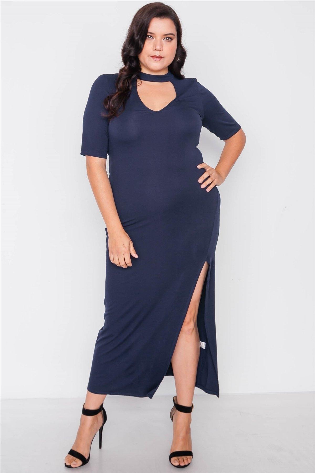 Plus Size Navy Side Slit Mock Neck Maxi Dress /2-2-2