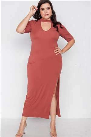 Plus Size Rust Site Slit Mock Neck Maxi Dress