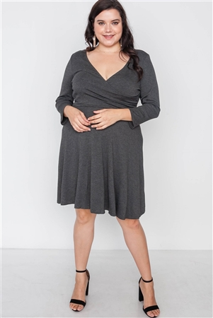 Plus Size Ribbed Charcoal V-Neck Dress