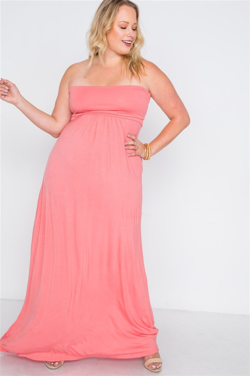 Plus Size Coral Solid Strapless Maxi Tube Dress