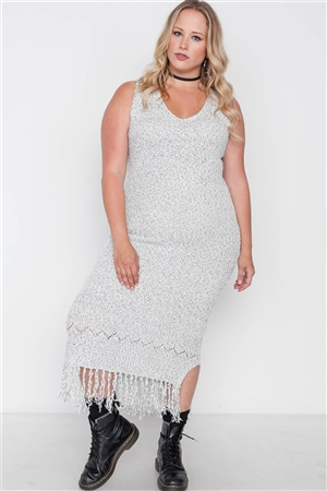 Plus Size Marled Natural Sleeveless Fringe Maxi Dress