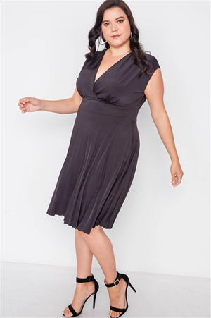 Plus Size Black Pleat Accordion Fit & Flair Dress