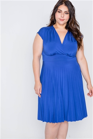 Plus Size Cobalt Pleat Accordion Fit & Flair Dress