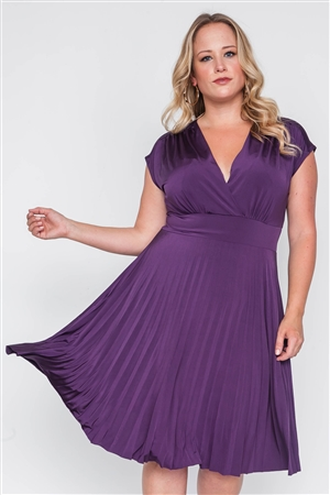 Plus Size Dark Purple Pleat Accordion Fit & Flair Dress