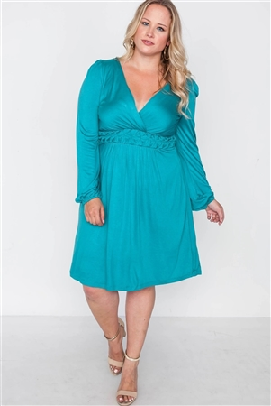 Plus Size Shoreline Turquoise Long Sleeve Dress
