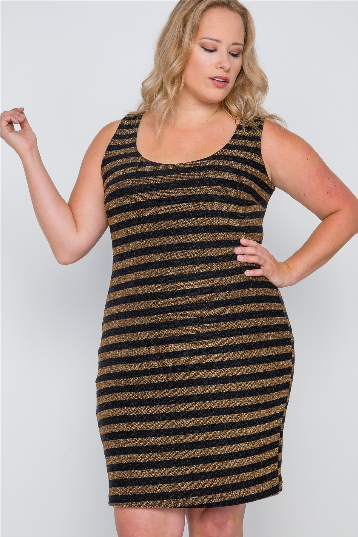 Plus Size Black Gold Stripe Bodycon Mini Dress /2-2-2
