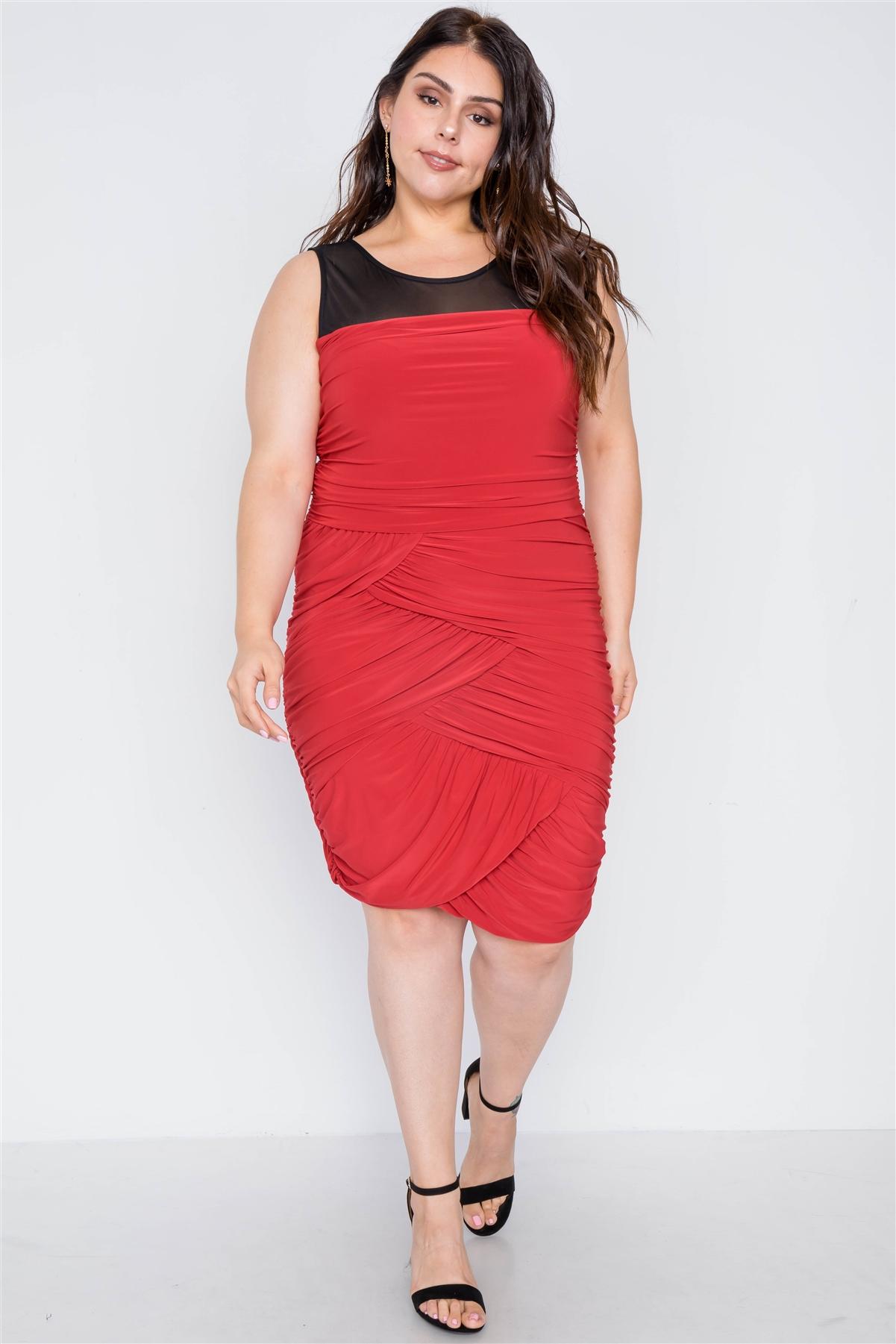 Plus Size Black Red Combo Bodycon Mini Dress