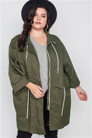 Plus Size Olive Utility Long Sleeve Jacket