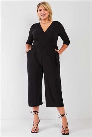 Junior Plus Black Plunging V-Neck Midi Sleeve Self-Tie Waist Detail Wide Leg Midi Jumpsuit /0X