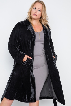 Plus Size Black Velvet Long Sleeve Trench Coat