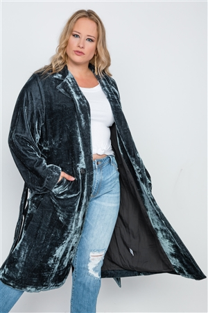 Plus Size Charcoal Velvet Long Sleeve Trench Coat