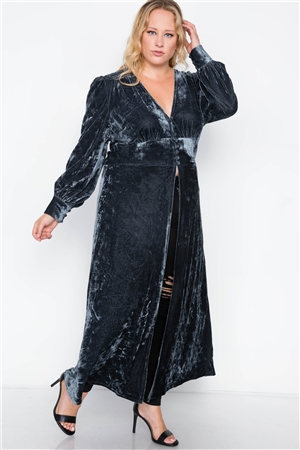 Plus Size Charcoal Velvet Maxi Top Cover Up