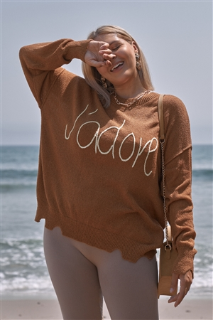 "Plus Size Camel Brown Purple ""J'adore"" Script Knit Relaxed Fit Sweater"