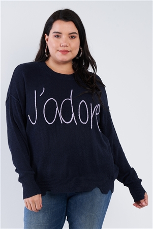 "Plus Size Navy Blue Purple ""J'adore"" Script Knit Relaxed Fit Sweater"
