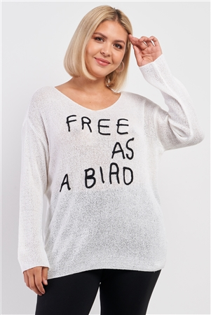 "Junior Plus Ivory ""Free As A Bird"" Logo Knit Sweater"