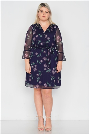 Plus Size Navy Sheer Floral Print Casual V-Neck Mini Dress