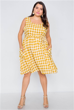 Yellow Scoop Neck Side Pockets Checkered Gingham Midi Dress
