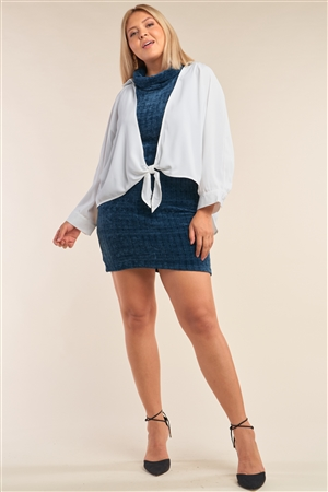 Junior Plus Size White Open Front Relaxed Fit Self-Tie Bottom Hem Long Sleeve Collared Shirt Top /1-2-2-1