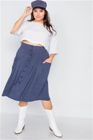 Plus Size Navy High-Waisted Flare Pleated Midi Skirt