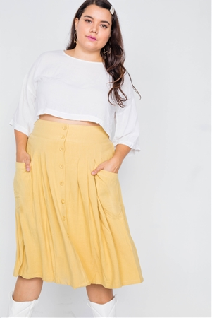 Plus Size Yellow High-Waisted Flare Pleated Midi Skirt