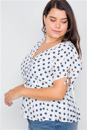 White & Navy Polkadot Flounce Peplum V-Neck Top