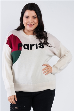 "Plus Size Oatmeal Beige ""Paris"" Color Block Relaxed Fit Knit Sweater"