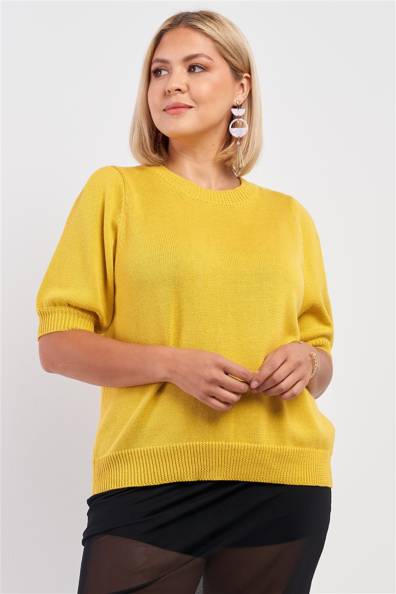 Junior Plus Yellow Ribbed Knit Short Puff Sleeve Crew Neck Sweater /1-2-2-1