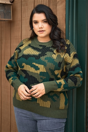 Plus Size Multi Army Camouflage Knit Relaxed Fit Sweater