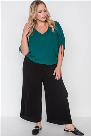 Plus Size Black Ribbed Wide Leg Ankle Pants
