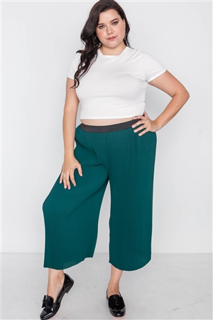 Plus Size Green Ribbed Wide Leg Ankle Pants