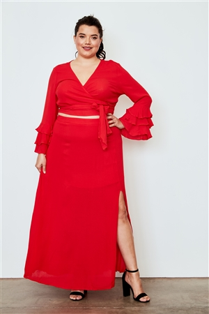 Plus Size Berry Red Side Slit Maxi Skirt
