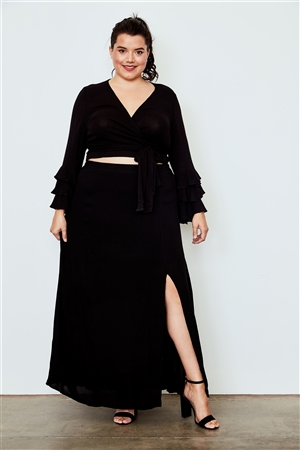 Plus Size Black Side Slit Maxi Skirt