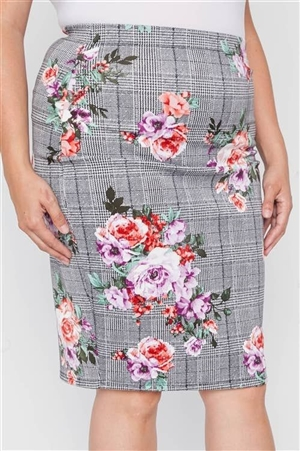 Plus Size Check Rose Print Pencil Skirt