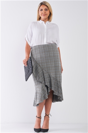 Junior Plus Size Plaid Grey High-Waist Midi Skirt /2-2-2