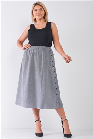 Plus Size Black Gingham Print Side Button Midi Skirt
