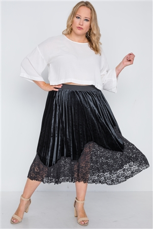Plus Size Black Velvet Pleated Lace Hem Midi Skirt