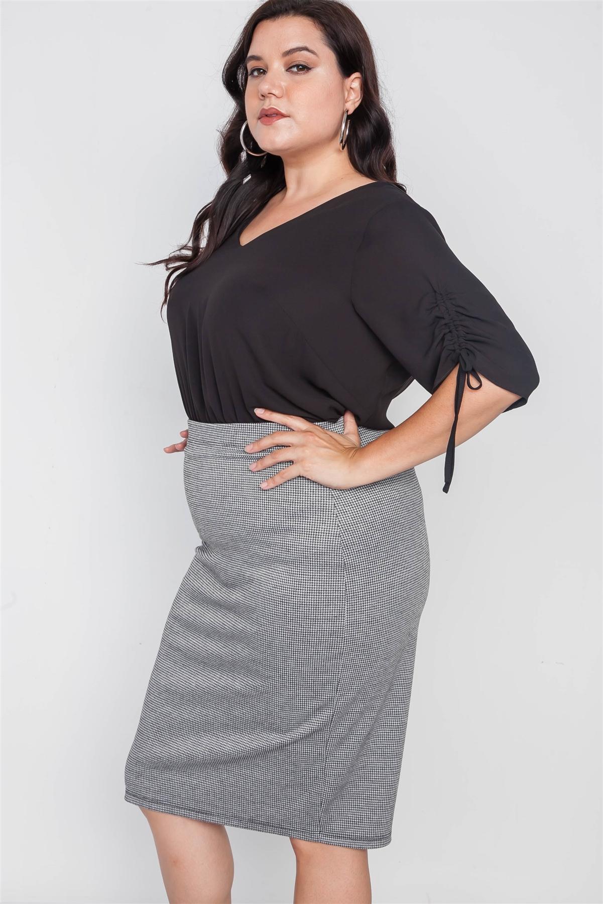 Plus Size Black White Plaid Pencil Skirt /2-2-2