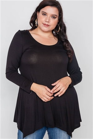 Plus Size Black Long Sleeve Basic Top